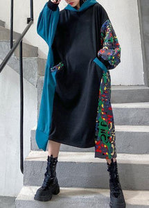 Vivid black cotton quilting clothes hooded patchwork print Traveling Dresses