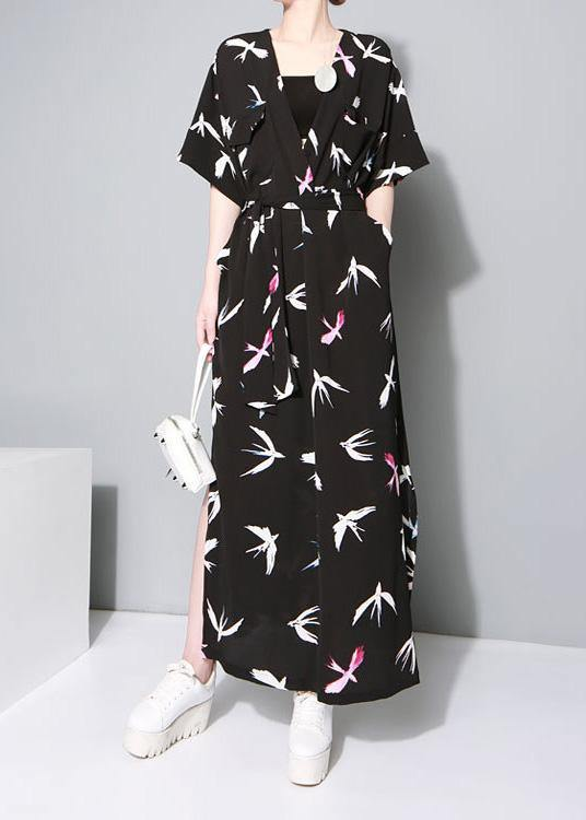 Vivid black prints chiffon clothes side open Traveling summer Dresses