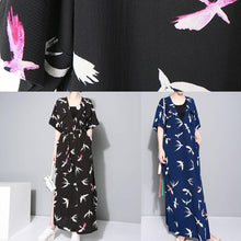 Load image into Gallery viewer, Vivid black prints chiffon clothes side open Traveling summer Dresses