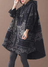 Load image into Gallery viewer, Vivid black thick Cotton quilting clothes hooded short patchwork Dresses
