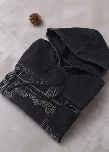 Vivid black thick Cotton quilting clothes hooded short patchwork Dresses