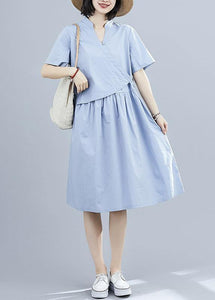 Vivid blue patchwork cotton clothes false two pieces Kaftan summer Dresses