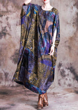 Load image into Gallery viewer, Vivid blue print cotton dress o neck Batwing Sleeve Maxi fall Dress