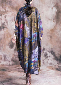 Vivid blue print cotton dress o neck Batwing Sleeve Maxi fall Dress