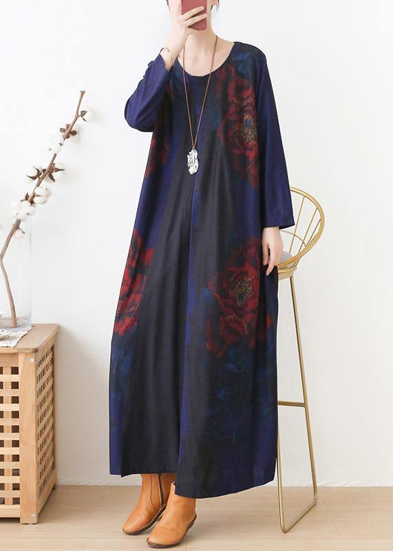 Vivid blue print dress o neck pockets Maxi fall Dress