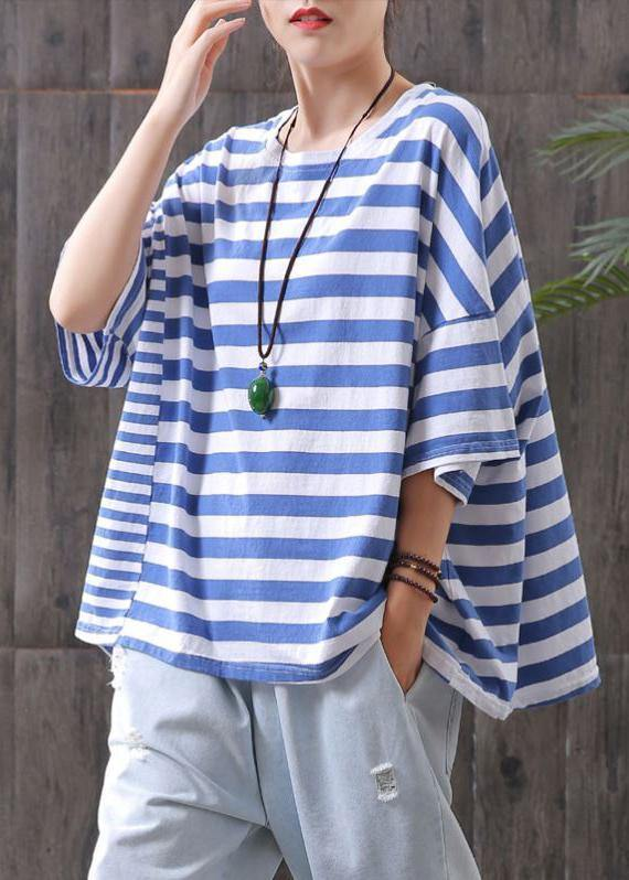 Vivid blue striped cotton Shirts Batwing Sleeve Plus Size top