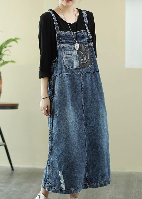 Vivid denim blue tunic dress Slash neck Hole Maxi Dress