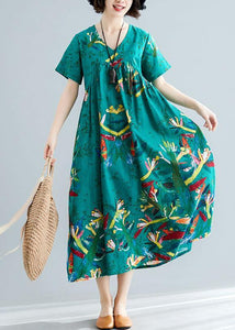 Vivid green cotton dresses prints Kaftan summer Dresses
