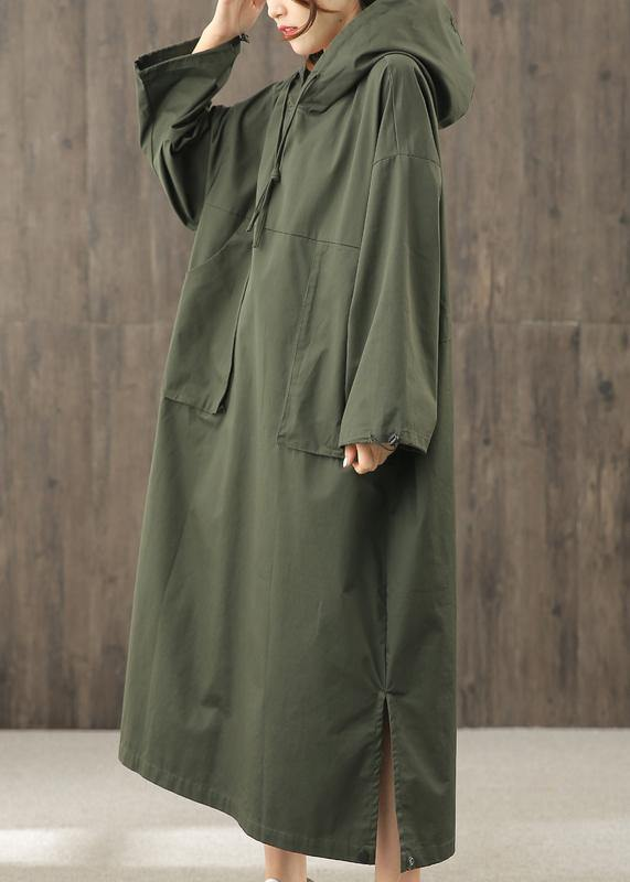 Vivid hooded side open clothes pattern blackish green Art Dress