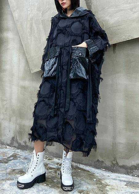 Vivid hooded tassel quilting clothes Outfits black Robe Dresses