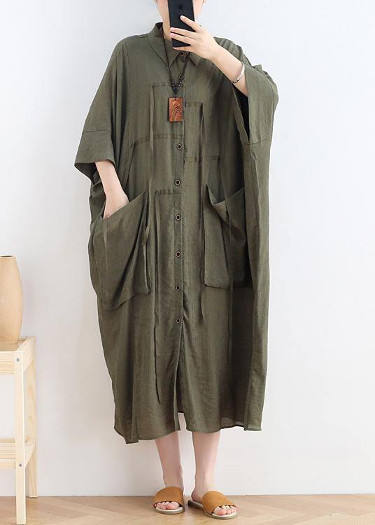 Vivid lapel Batwing Sleeve linen summer clothes Fabrics green Dress