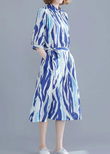 Load image into Gallery viewer, Vivid lapel half sleeve Cotton dresses Runway blue striped Dress