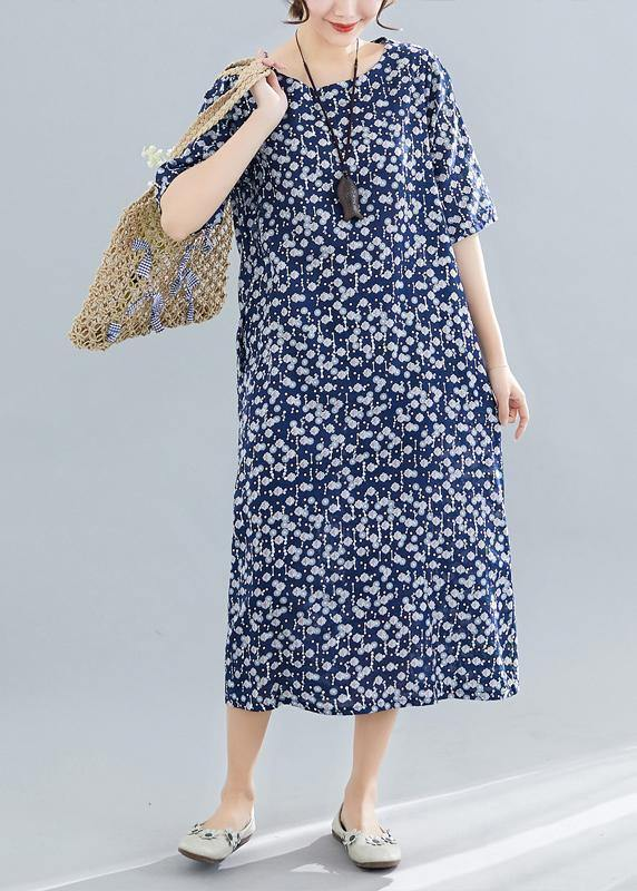 Vivid navy print cotton linen clothes For Women o neck pockets Maxi summer Dress