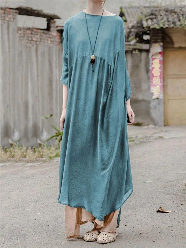 Vivid o neck Batwing Sleeve clothes Women design blue Traveling Dresses