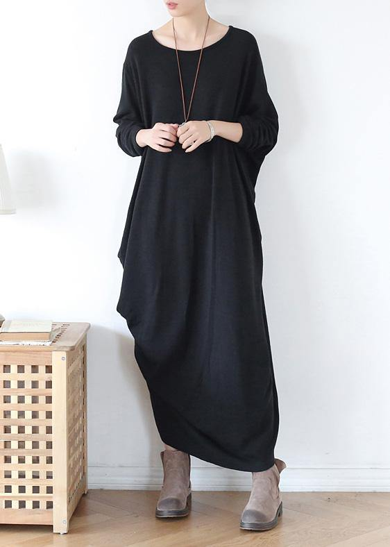 Vivid o neck asymmetric cotton spring clothes Neckline black Robe Dress