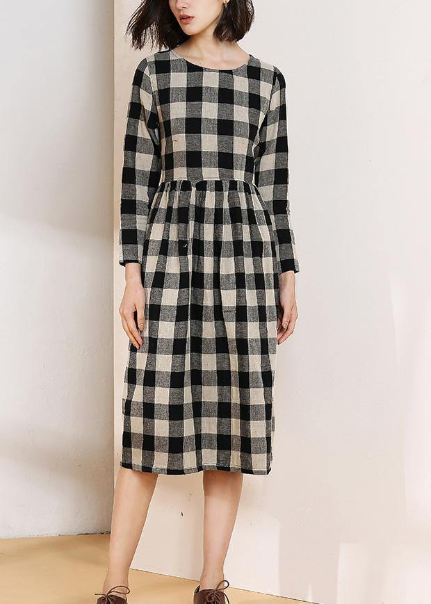 Vivid o neck cotton linen spring clothes Runway black plaid Dress