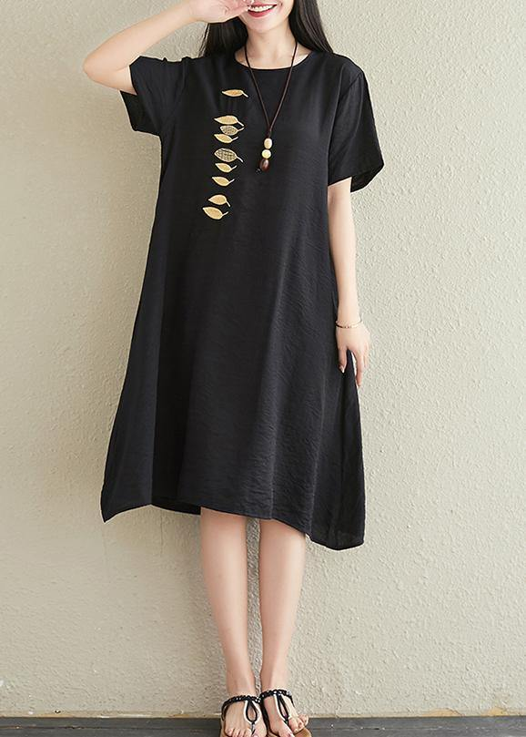 Vivid o neck embroidery cotton linen dresses Tutorials black Dresses summer