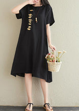 Load image into Gallery viewer, Vivid o neck embroidery cotton linen dresses Tutorials black Dresses summer