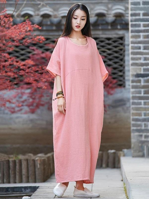 Vivid o neck half sleeve cotton linen quilting clothes Neckline pink Dress