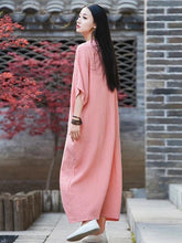 Load image into Gallery viewer, Vivid o neck half sleeve cotton linen quilting clothes Neckline pink Dress
