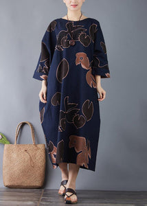 Vivid o neck pockets cotton navy print long Dresses summer