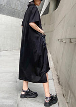 Load image into Gallery viewer, Vivid o neck pockets cotton summer quilting clothes Work Outfits black print Maxi Dress