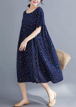 Load image into Gallery viewer, Vivid o neck wrinkled cotton dresses Sewing blue print long Dresses summer