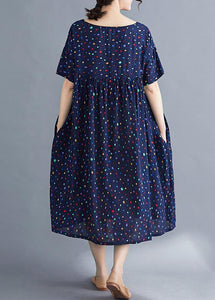 Vivid o neck wrinkled cotton dresses Sewing blue print long Dresses summer
