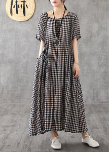 Vivid patchwork linen quilting dresses Runway black plaid Dresses summer