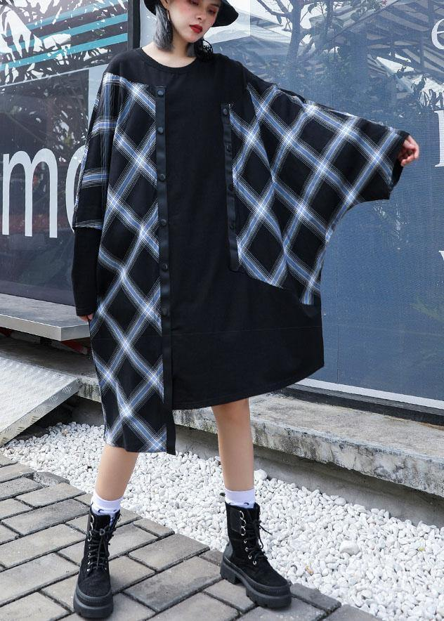 Vivid patchwork plaid Cotton Wardrobes asymmetric daily fall Dresses