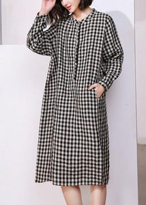 Vivid plaid cotton tunics for women o neck daily side open Dresses
