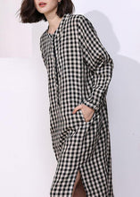 Load image into Gallery viewer, Vivid plaid cotton tunics for women o neck daily side open Dresses