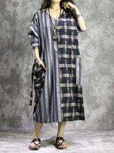 Load image into Gallery viewer, Vivid plaid linen quilting dresses v neck patchwork Vestidos De Lino Dress