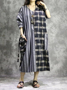 Vivid plaid linen quilting dresses v neck patchwork Vestidos De Lino Dress