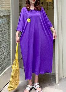 Vivid purple Cartoon print clothes For Women o neck side open Robe summer Dresses