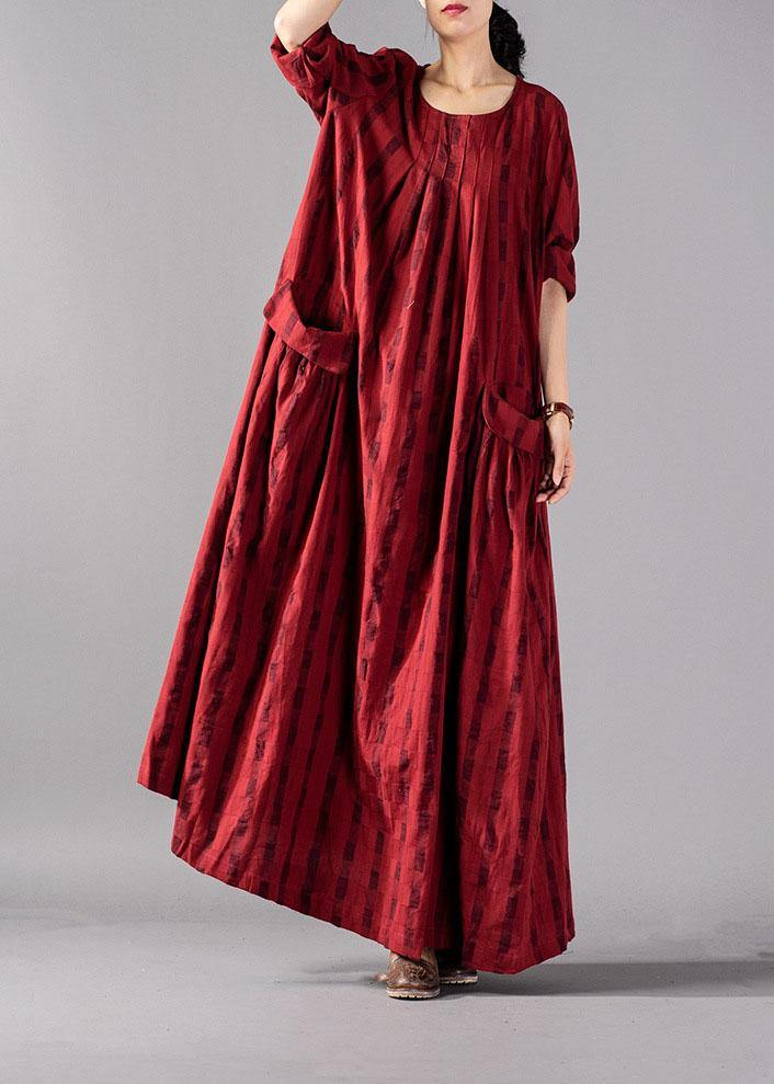 Vivid red Plaid cotton linen Robes o neck pockets Maxi fall Dresses