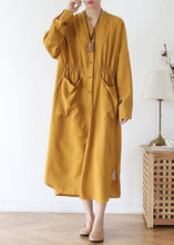 Load image into Gallery viewer, Vivid v neck pockets cotton spring tunic dress Sewing yellow Kaftan Dress