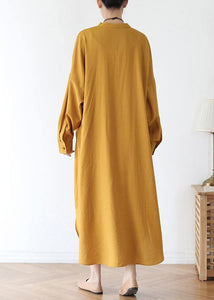 Vivid v neck pockets cotton spring tunic dress Sewing yellow Kaftan Dress