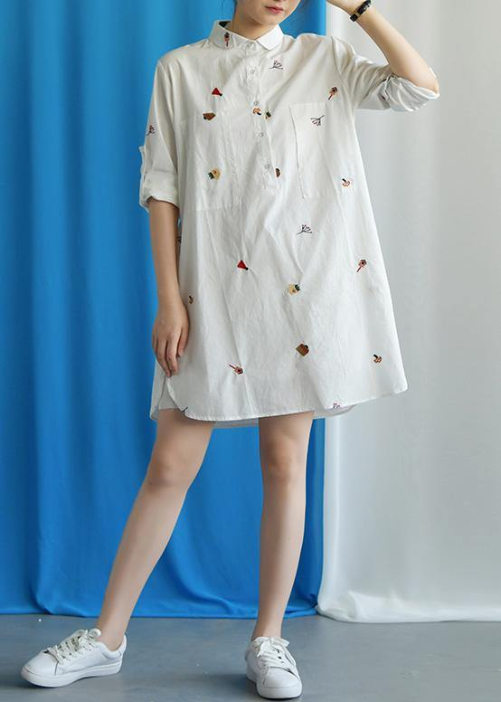 Vivid white Cotton quilting clothes embroidery loose fall Dress