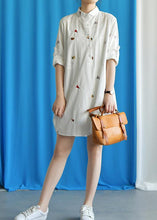 Load image into Gallery viewer, Vivid white Cotton quilting clothes embroidery loose fall Dress