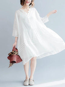 Vivid white Cotton tunic dress v neck half sleeve short Dresses