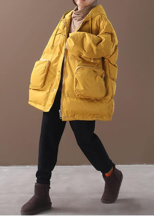 Warm Loose fitting snow jackets drawstring hem outwear yellow hooded women short coats
