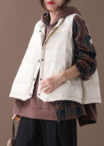 Warm beige Parkas trendy plus size snow jackets winter stand collar sleeveless outwear
