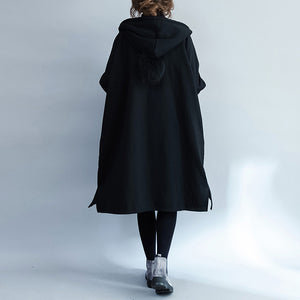 Warm black Parkas for women casual hooded coats jacket Casual side open overcoat