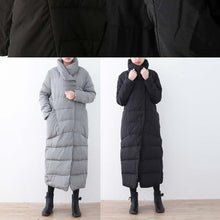 Load image into Gallery viewer, Warm black down overcoat Loose fitting down jacket New high neck overcoat
