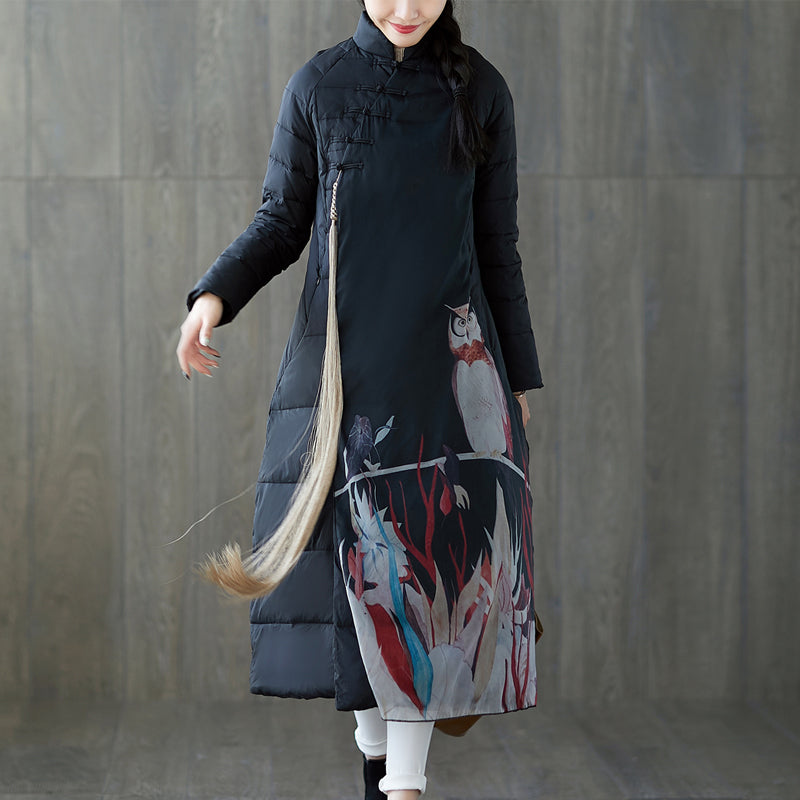 Warm black print down coat oversized stand collar patchwork down jacket Chinese Button down coat