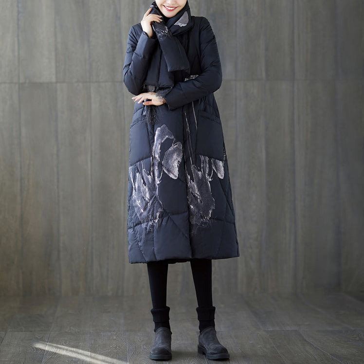 Warm black print down coat oversized tassel quilted coat top quality pockets down coat
