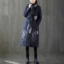 Load image into Gallery viewer, Warm black print down coat oversized tassel quilted coat top quality pockets down coat