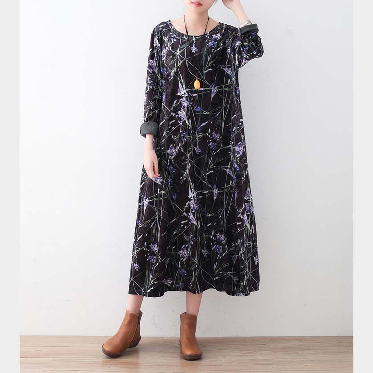 Warm black purple print silk corduroy dresses oversized winter dresses Elegant o neck long dress