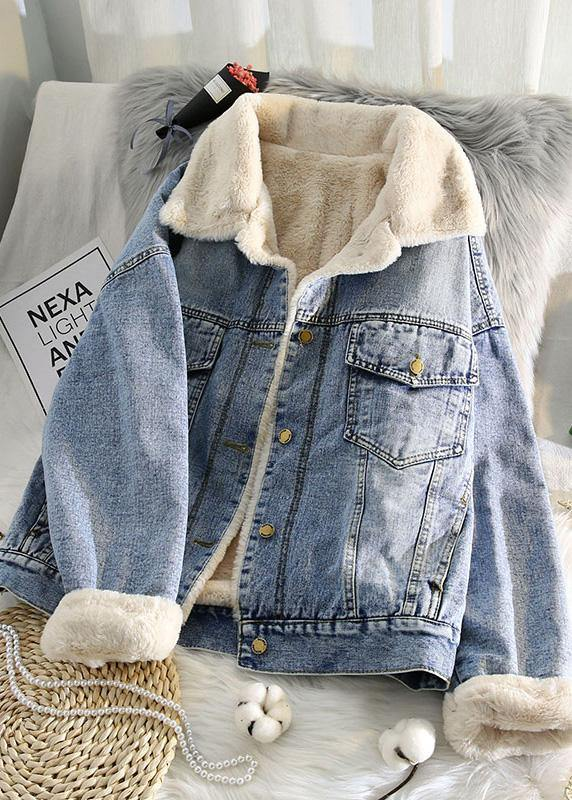 Warm blue coat plus size jacket spring lapel pockets coat